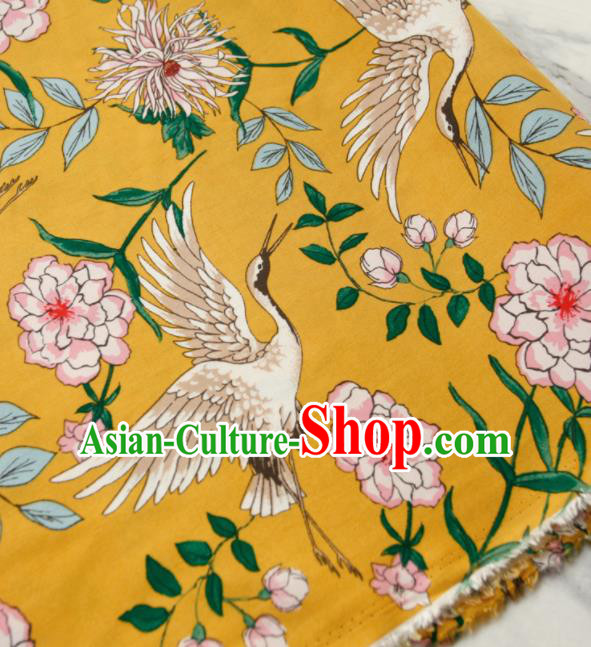 Asian Japanese Traditional Kimono Yellow Brocade Fabric Silk Material Classical Cranes Pattern Design Drapery