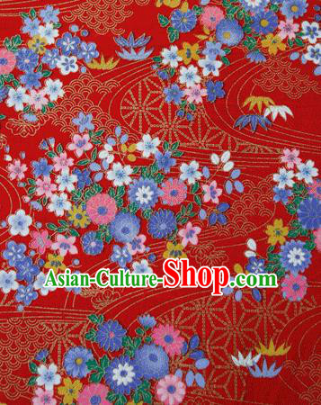 Asian Japanese Traditional Kimono Red Brocade Fabric Silk Material Classical Flowers Pattern Design Drapery