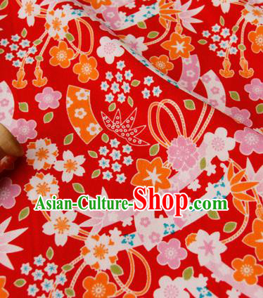 Asian Japanese Traditional Kimono Fabric Red Brocade Silk Material Classical Pattern Design Drapery