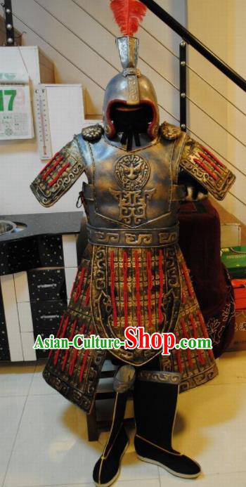 33ec57649 Chinese Traditional Qin Dynasty Warrior Costumes Ancient General Helmet and Body  Armour for Men