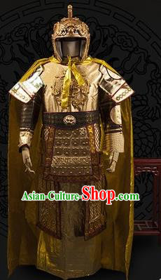 Chinese Traditional Qin Dynasty General Costumes Ancient Warrior Golden Helmet and Body Armour for Men