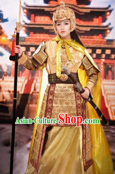 Chinese Traditional Tang Dynasty Female General Costumes Ancient Warrior Golden Helmet and Body Armour for Women