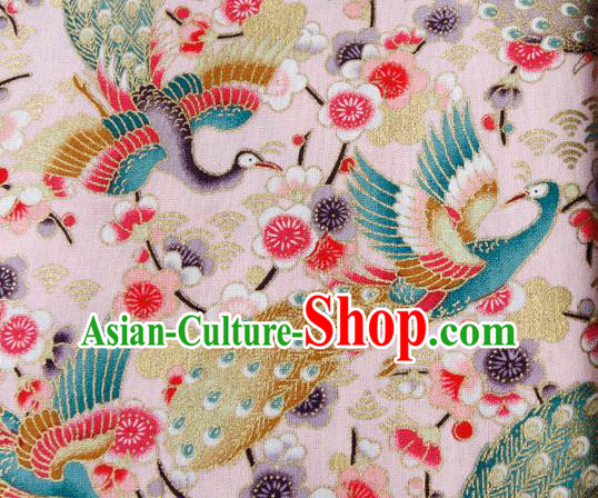 Asian Japanese Traditional Kimono Pink Brocade Fabric Silk Material Classical Peacock Pattern Design Drapery