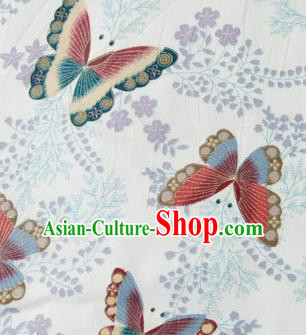Asian Japanese Traditional Kimono Brocade Fabric Silk Material Classical Red Butterfly Pattern Design Drapery
