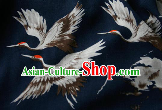 Asian Japanese Traditional Kimono Black Brocade Fabric Silk Material Classical Cranes Pattern Design Drapery