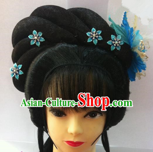 Chinese Traditional Ancient Beijing Opera Actress Princess Wig Sheath and Hairpins Hair Accessories for Women