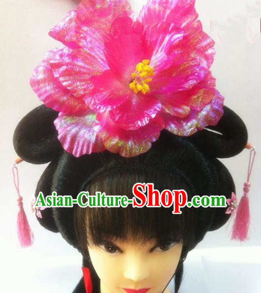 Chinese Traditional Ancient Beijing Opera Princess Wig Sheath and Peony Hairpins Hair Accessories for Women