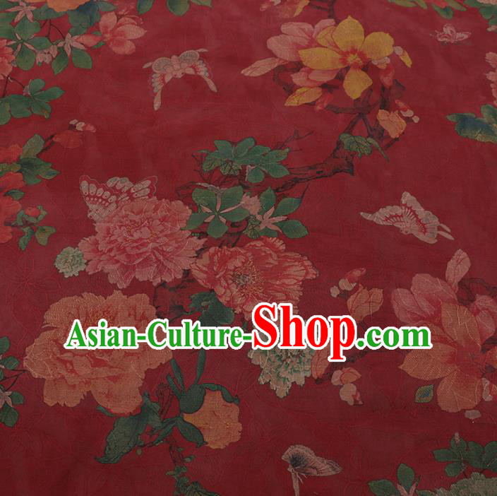 Chinese Classical Red Satin Plain Traditional Butterfly Peony Pattern Cheongsam Drapery Silk Fabric Gambiered Guangdong Gauze