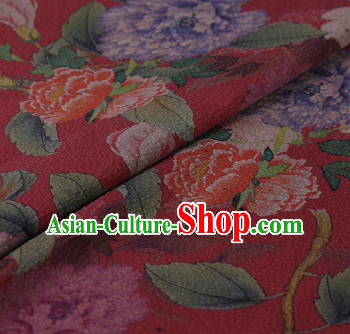 Chinese Classical Silk Fabric Traditional Peony Pattern Red Satin Plain Cheongsam Drapery Gambiered Guangdong Gauze