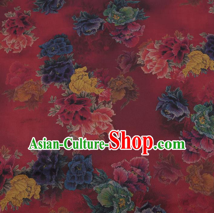 Chinese Traditional Silk Fabric Classical Peony Pattern Rosy Satin Plain Cheongsam Drapery Gambiered Guangdong Gauze
