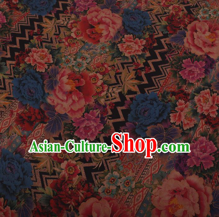 Chinese Traditional Silk Fabric Classical Colorful Peony Pattern Satin Plain Cheongsam Drapery Gambiered Guangdong Gauze