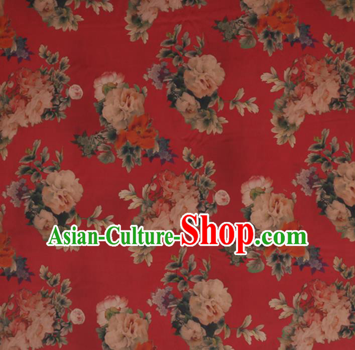 Chinese Traditional Silk Fabric Classical Peony Pattern Red Satin Plain Cheongsam Drapery Gambiered Guangdong Gauze