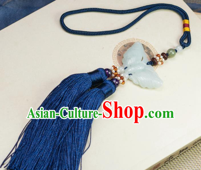 Chinese Traditional Jewelry Accessories Ancient Hanfu Blue Tassel Butterfly Jade Pendant for Women