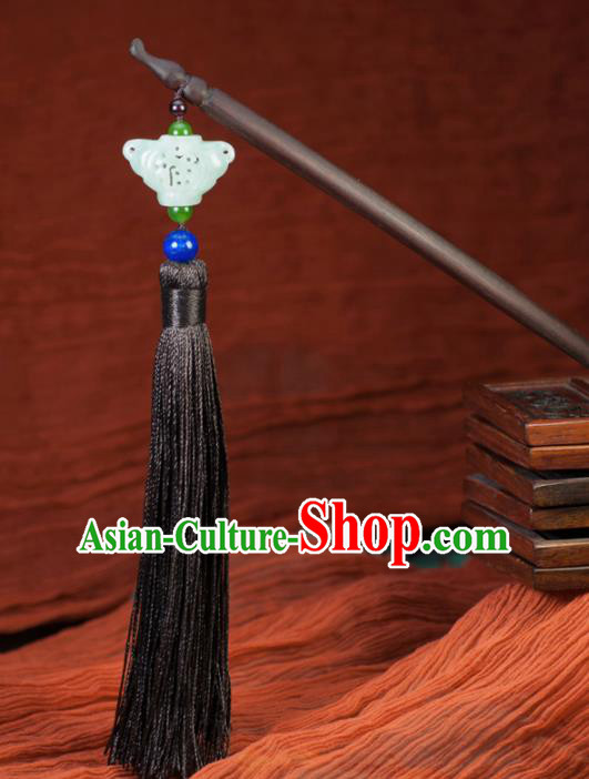 Chinese Traditional Hanfu Rosewood Hair Clip Hair Accessories Ancient Classical Jade Butterfly Tassel Hairpins for Women