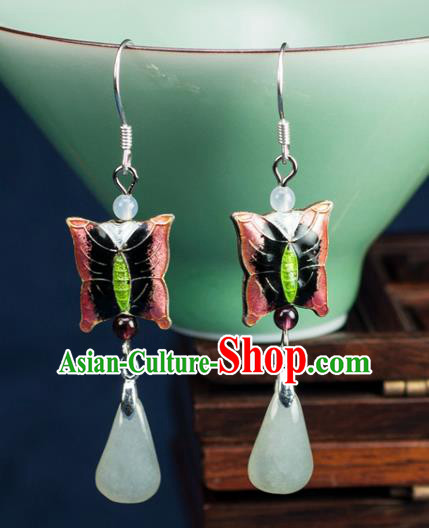Chinese Traditional Jewelry Accessories Ancient Hanfu Pink Butterfly Earrings for Women