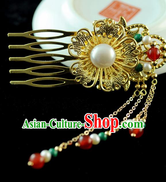 Chinese Traditional Hanfu Pearls Tassel Golden Hair Comb Hair Accessories Ancient Classical Hairpins for Women
