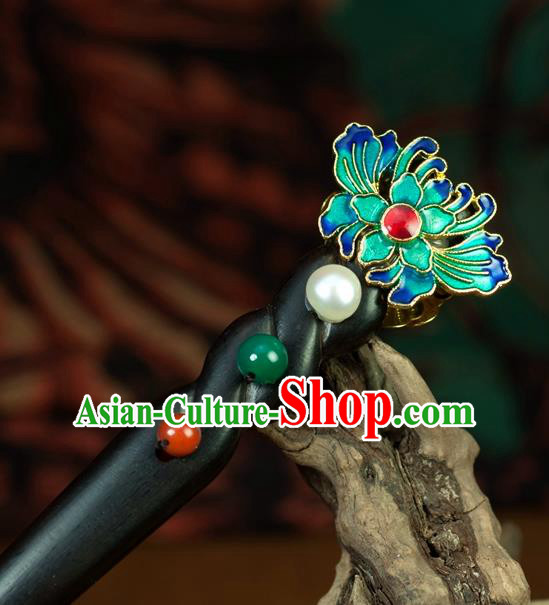 Chinese Traditional Hanfu Blueing Lotus Hair Clip Hair Accessories Ancient Classical Hairpins for Women