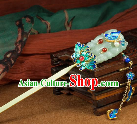 Chinese Traditional Hanfu Blueing Lotus Hair Clip Hair Accessories Ancient Classical Jade Tassel Hairpins for Women