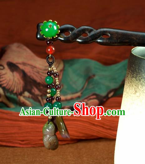 Chinese Traditional Hanfu Hair Clip Hair Accessories Ancient Classical Jade Tassel Hairpins for Women