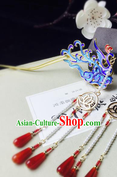 Chinese Classical Tassel Hairpins Hair Accessories Traditional Ancient Hanfu Blueing Phoenix Hair Clip for Women