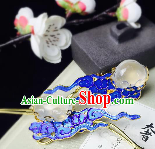 Chinese Classical Jade Hairpins Hair Accessories Traditional Ancient Hanfu Blueing Hair Clip for Women