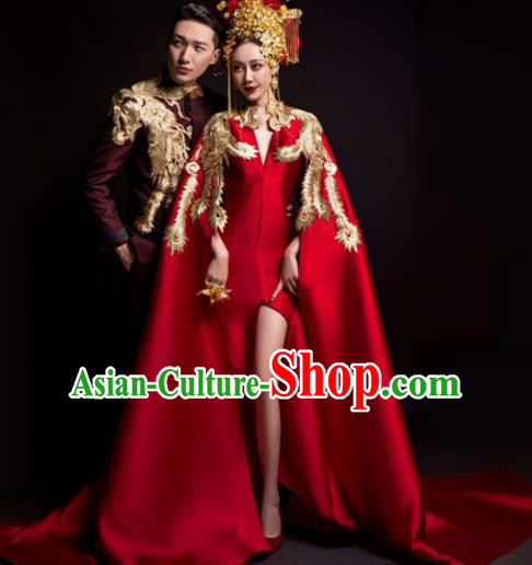 Chinese Classical Catwalks Costumes Traditional Wedding Red Trailing Full Dress for Women