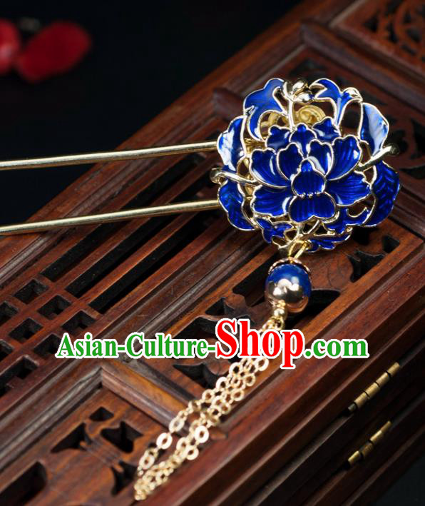 Chinese Traditional Hanfu Cloisonne Lotus Hair Comb Hair Accessories Ancient Classical Hairpins for Women