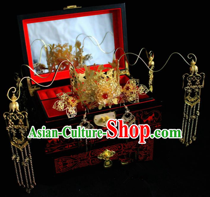 Chinese Classical Golden Hairpins Wedding Phoenix Coronet Hair Accessories Traditional Ancient Hair Clip for Women