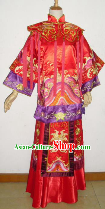 Chinese Traditional Xiuhe Suit Wedding Red Dresses Ancient Bride Embroidered Costumes for Women