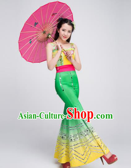 Chinese Traditional Dai Ethnic Costumes Folk Dance Peacock Dance Green Dress for Women