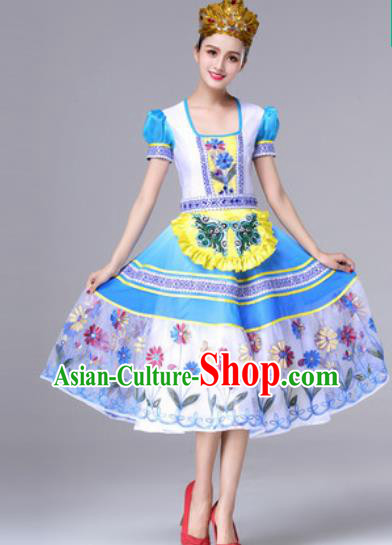 Traditional Russia Folk Dance Yellow Dress Stage Performance Costumes for Women