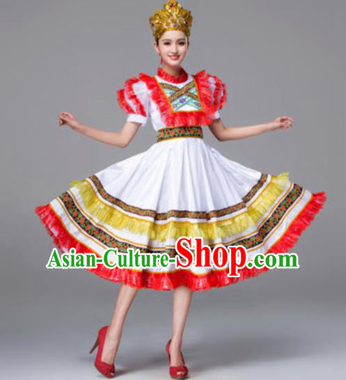 Russia Traditional Folk Dance Costumes Palace White Dress for Women
