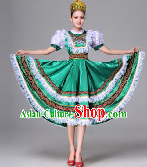 Russia Traditional Costumes Folk Dance Court Green Dress for Women