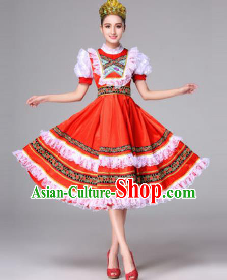 Russia Traditional Costumes Folk Dance Court Red Dress for Women