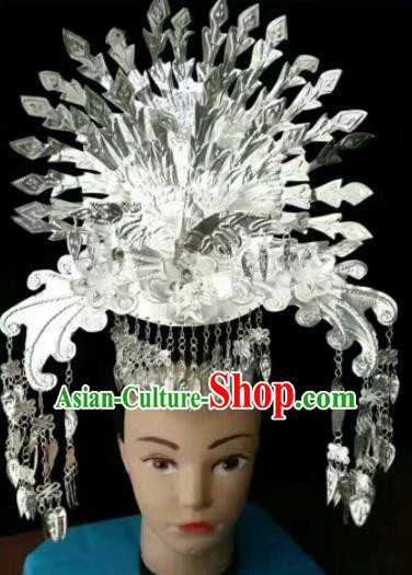 Traditional Chinese Miao Nationality Sliver Phoenix Coronet Hmong Ethnic Hair Accessories for Women