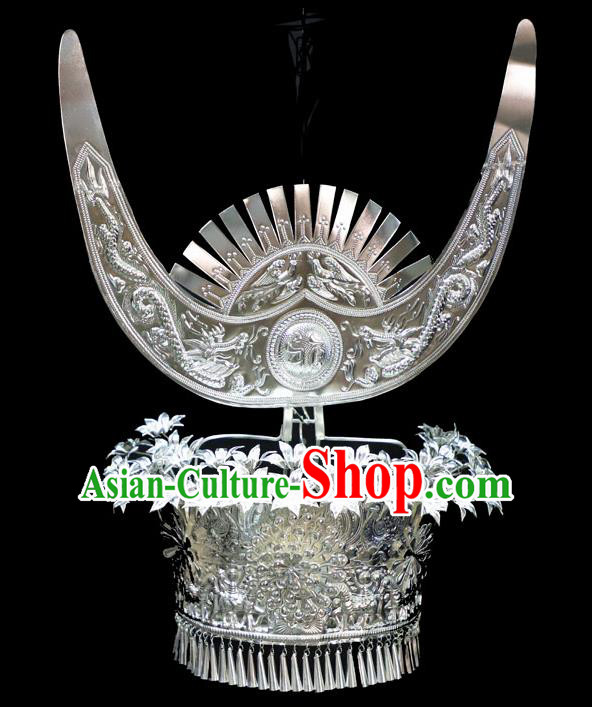 Chinese Traditional Miao Nationality Wedding Hair Accessories Hmong Carving Sliver Phoenix Coronet for Women