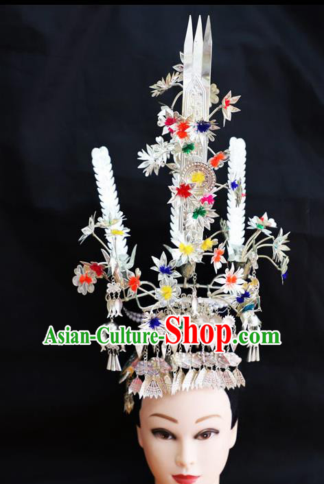 Chinese Traditional Miao Nationality Hair Accessories Colorful Phoenix Coronet Hmong Carving Sliver Hairpins for Women