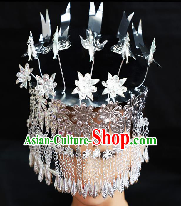 Chinese Traditional Miao Nationality Hair Accessories Tassel Phoenix Coronet Hmong Sliver Hairpins for Women