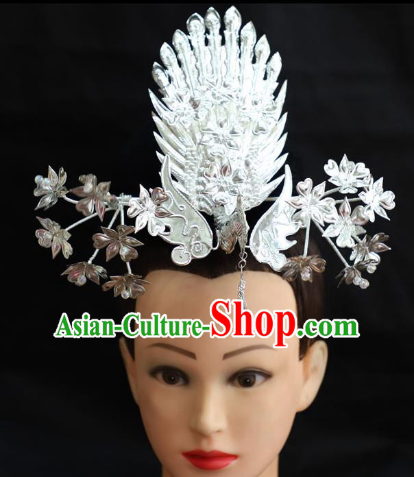 Chinese Traditional Miao Nationality Hair Accessories Sliver Phoenix Coronet Hmong Hairpins for Women