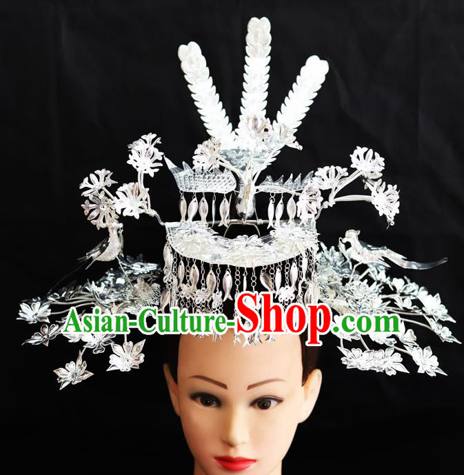Chinese Traditional Miao Nationality Wedding Phoenix Coronet Hair Accessories Sliver Hairpins for Women
