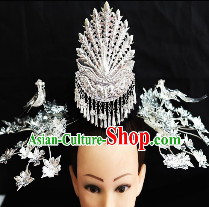 Chinese Traditional Miao Nationality Phoenix Coronet Wedding Hair Accessories Sliver Hairpins for Women