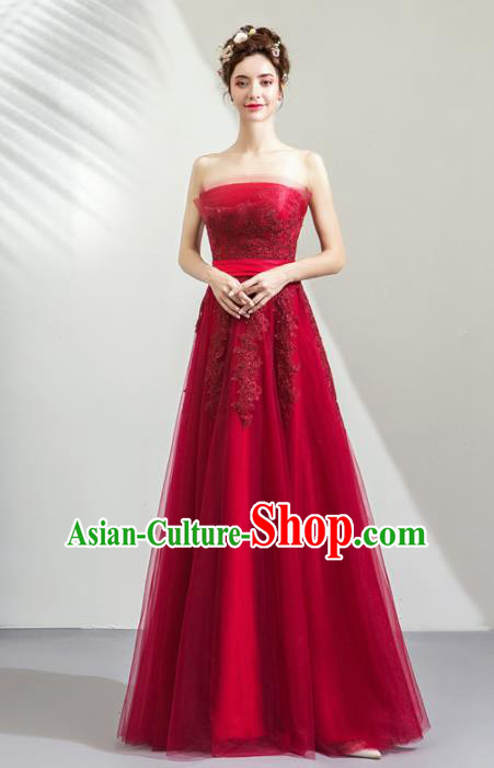 Top Grade Handmade Fancy Wine Red Wedding Dress Princess Wedding Gown for Women