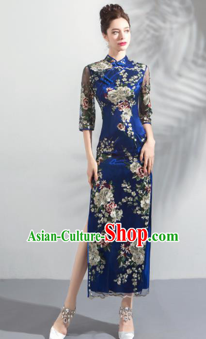 Chinese Traditional Blue Cheongsam Wedding Bride Costume Compere Full Dress for Women