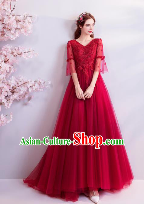 Handmade Princess Red Wedding Dress Top Grade Fancy Wedding Gown for Women