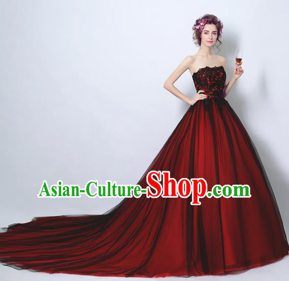 Handmade Bride Wine Red Wedding Dress Fancy Formal Dress Wedding Gown for Women