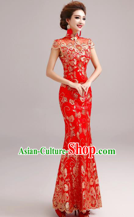 Chinese Traditional Mermaid Full Dress Wedding Bride Red Lace Cheongsam for Women