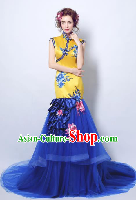 Chinese Traditional Cheongsam Wedding Bride Compere Tang Suit Full Dress for Women