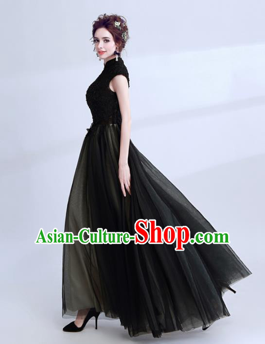Handmade Black Lace Evening Dress Compere Costume Catwalks Angel Full Dress for Women