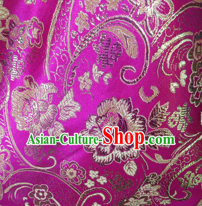 Chinese Traditional Rosy Brocade Fabric Tang Suit Classical Peony Flowers Pattern Design Silk Material Satin Drapery