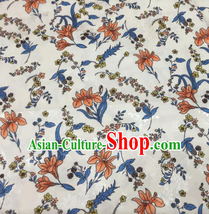 Chinese Traditional Apparel Fabric White Qipao Brocade Classical Pattern Design Silk Material Satin Drapery